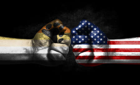 Two fists painted in the color of America and LGBT communities, a concept of confrontation. America vs Bear Brotherhood