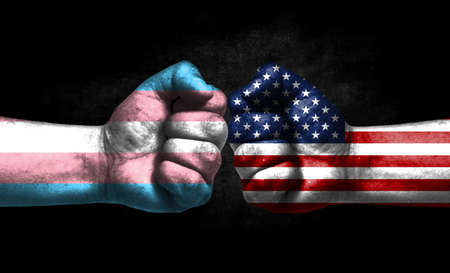 Two fists painted in the color of America and LGBT communities, a concept of confrontation. America vs Transgender Banco de Imagens