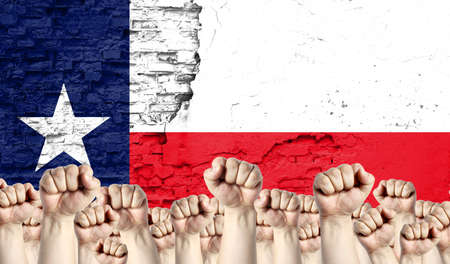 Raised fists of men against the background of the flag of State of Texas painted on the wall, the concept of popular unity and the opinion of the majority.