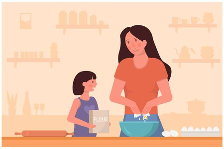 Concept of mother and daughter cooking on kitchen. Mum teaching child how to bake. Cozy kitchen counter on the background and eggs and bag of flour in hands of kid. Flat cartoon vector illustration.