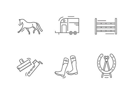 Horse riding outline icon set. Illustration