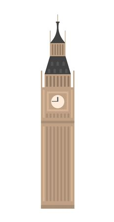 An icon of vintage big ben tower in London, UK, great design for any purposes. Isolated vector flat illustration.