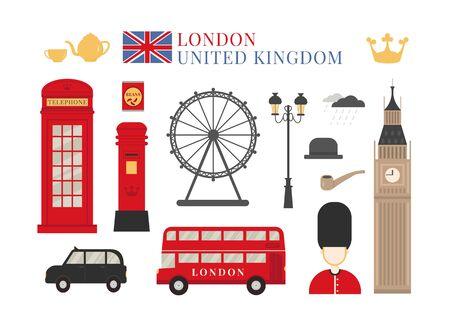 England London icon flat vector set. Cultural symbols of United Kingdom. Red phone booth, british mailbox, guardsman.