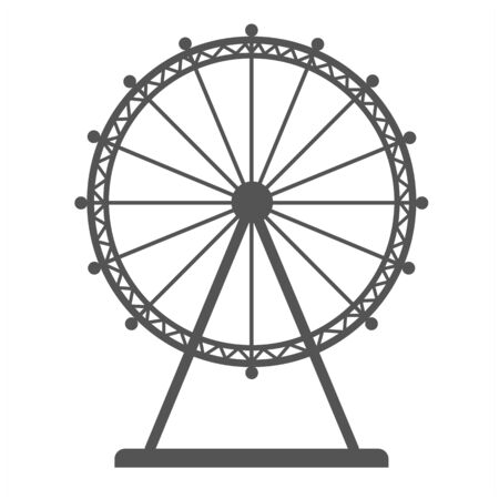 Liner icon of ferris wheel silhouette isolated on white background. Flat vector amusement park sideshow.
