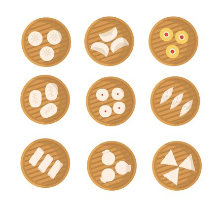 Set of japanese or chinese dumplings in bamboo steamer. Dimsum, Baozi, Bao. Vector flat cartoon illustration. Asian food