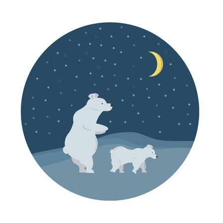 Mama polar bear with baby under night sky and moon in Antarctic North Pole. Vector illustration for kids room, nursery Illustration