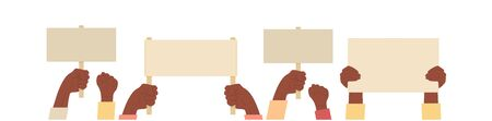 A group of black people hands fist raised up into air. African american protesting, fighting for human rights rebel manifestation protest. Black lives matter. Flat vector illustration. Blank placad. 矢量图像
