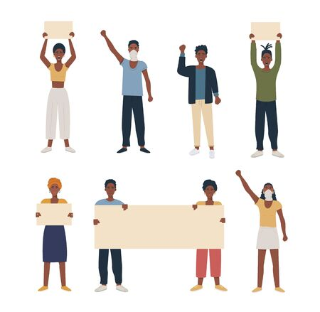 Set of black african american people protesting, manifesting, strike holding banners placard and hand fist raised. Collection of male female characters for march demonstration. Vector flat isolated