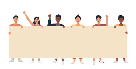 A group of people mix race multicultural holding big banner and protesting. Protesters with blank placard for text announcement or ad. Vector flat illustration. Vector Illustration