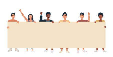 Un groupe de personnes mélange la race multiculturelle tenant une grande bannière et protestant. Manifestants avec une pancarte vierge pour une annonce textuelle ou une annonce. Plate illustration vectorielle. Vecteurs