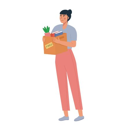 Cartoon vector illustration. Employee fired from work. Loss job. Dismissed woman carrying box with her things. Unemployment concept, job reduction. Vector flat illustration isolated on white.