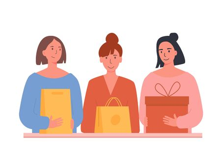 Happy girlfriends received delivery. Friends received gift box. Woman with shopping bags and boxes. Concept for e-commerce website, online retail shop. Vector flat illustration on white background.