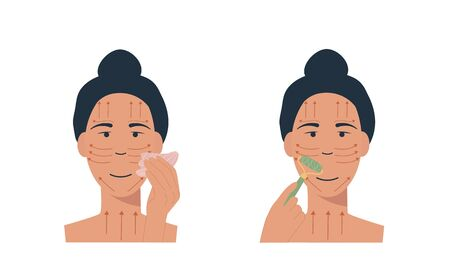 Woman with jade face roller and gua sha stone scraper. Facial yoga. A girl massaging her face. Acupuncture anti-aging traditional chinese medicine self care method. Vector flat illustration on white.