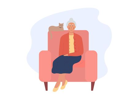 Grandmother sitting in armchair with cat. Postcard for grandparents day. An elderly woman stays at home. Old woman spends time with her pet. Pensioner alone. Flat vector illustration isolated on white