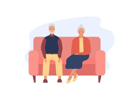 Grandfather and grandmother sitting on pink sofa together. Pensioners spending time together. Lonely old age couple. Concept for grandparents day. Elderly people. Flat vector illustration.