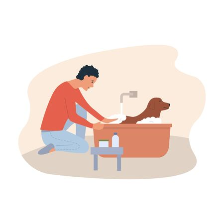 An owner washing his dog. Grooming service. Pet care. Cartoon young man care or clean his dog with shampoo in soap foam in the bathroom. Vector illustration Banque d'images - 150542499