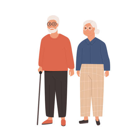 Elderly couple standing together. Grandfather with walking stick and grandmother. Senior man and woman on white background. Senior people healthcare assistance. Vector illustration of old people.