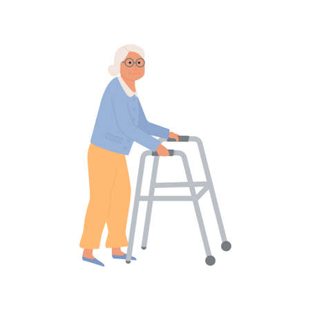 Elderly disabled woman with paddle walker. Old lady grandmother character on white background. Nursing home. Senior woman getting sick at hospital. Vector illustration. Illustration