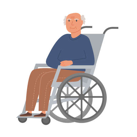 Grandpa sitting in wheelchair. Retired elderly senior age man disabled assisted living or at nursing home. Flat vector illustration on white background.