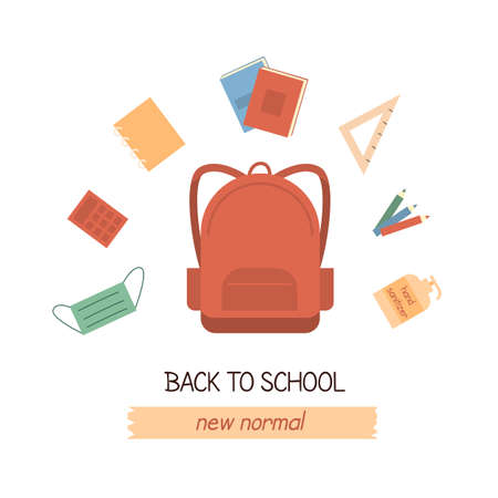 New normal concept for back to school. Student backpack with stationery, notepad, books, pencil, face mask and hand sanitizer. Flat vector illustration isolated on white. 일러스트