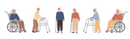 Set of elderly disabled people at nursing home. Old grandparents on retirement. Modern male and female pensioners on wheelchair, paddle walker and crane, walking stick. Vector character illustration.