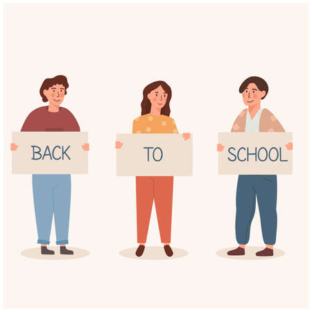 Back to school concept, caucasian children - schoolboys and schoolgirls standing together holding placard with caption. Kids or trendy teenagers in flat cartoon style with banners. Vector illustration