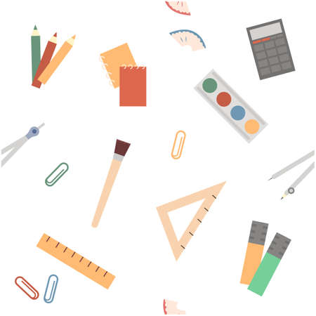 Colorful seamless pattern with scattered school supplies or stationery for education on white background. Vector illustration in flat style for wallpaper, wrapping paper, fabric print. Back to school