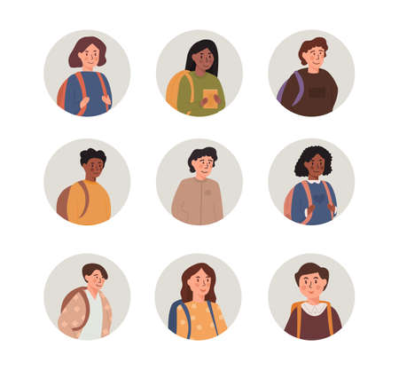 Kids portraits set. School boys and girls with backpack, mix race multiethnic faces and shoulders avatars. Flat style vector icons set. Light grey round shaped children userpics illustration. Ilustração