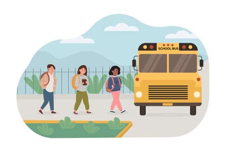 Scene of multiethnic, mix race kids picked up by yellow school bus. Children going back to school. Vector illustration in flat style.