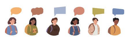Diversity of children - avatar userpic portraits of schoolboys and schoolgirls of different ethnicities with colorful bubble message. Teenagers with speech balloon of different shapes. Vector. Ilustração