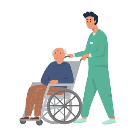 Male nurse with old man on wheelchair. Grandpa sitting in wheelchair. Retired elderly senior age man disabled. Concept for assisted living or nursing home. Flat vector illustration on white background Ilustração
