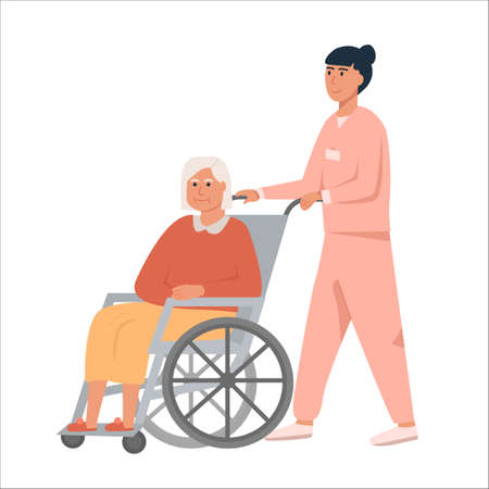 Female nurse with old woman on wheelchair. Grandmother sitting on wheelchair. Retired elderly senior woman disabled. Concept for assisted living or nursing home. Flat vector illustration on white.