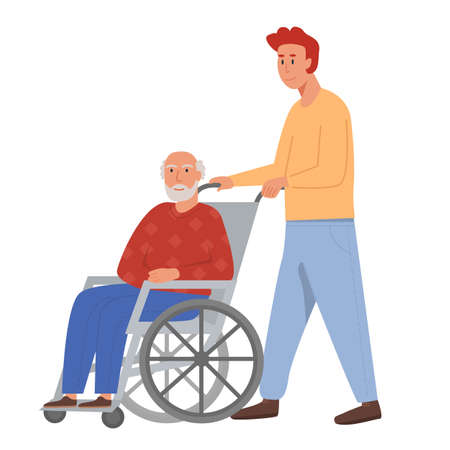 Son with old man on wheelchair. Grandpa sitting in wheelchair. Retired elderly senior age man disabled. Concept for assisted living or nursing home. Flat vector illustration on white background Ilustração