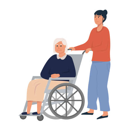 Daughter or female relative with old woman on wheelchair. Elderly senior sitting on wheelchair. Retired disabled woman. Concept for assisted living or nursing home. Flat vector illustration on white. Ilustração