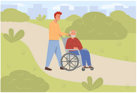 Young son social worker strolling with old man on wheelchair in green park. Elderly senior age disabled outdoor with volunteer. Concept for assisted living or nursing home. Flat vector illustration.