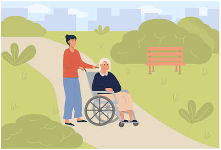 Young daughter social worker strolling with old woman on wheelchair in green park. Elderly senior age disabled lady outdoor with volunteer. Assisted living or nursing home. Flat vector illustration.