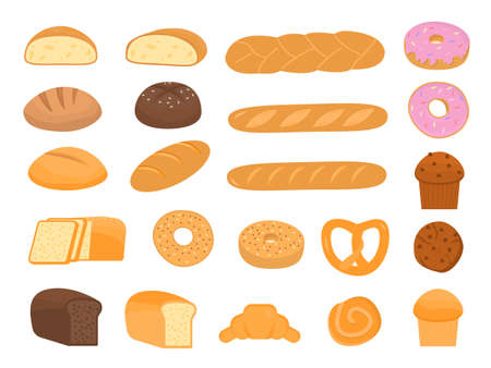 Set of cartoon baking pastry products for bakery menu, recipe book. Baguette, rye bread, whole wheat loaf, bagel, croissant, sourdough, ciabatta, doughnut, cupcake, maffin, cookie. Vector illustration