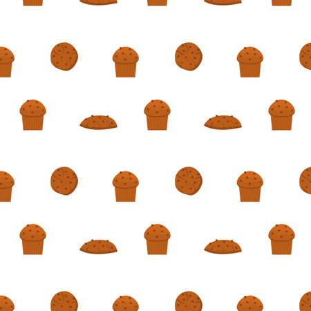 Seamless pattern with different types of pastries and delicious baked products on white background. Homemade pastry. Chocolate cookies and choc cupcake or muffin. Vector illustration for print. 矢量图像