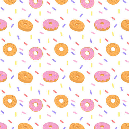Pattern of sweet colorful donut or bagel. Seamless pattern of different types of colorful donuts with sprinkles. Dessert, pastry, donuts design for menu, advertising cafe, bakery. Vector Illustration.