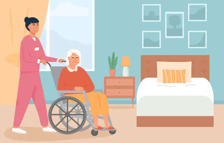 Residential care facility. A nurse with old woman on wheelchair. A bedroom in nursing home or retirement home. Scene of disabled elderly person with social worker at home. Concept of assisted living. Ilustração
