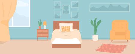 Vector cartoon illustration of cozy modern bedroom, living room with double bed, plants, pictures, armchair, carpet, interior inside. Colorful background, contemporary apartment concept with furniture