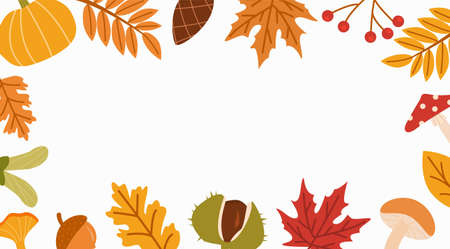 Fall season flat vector background. Autumn botanical colorful banner template with place for text. Dried leaves, wild mushroom decorative backdrop. Natural forest leafage illustration. Illustration.