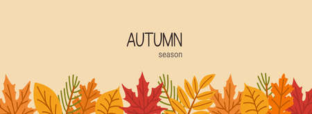 Autumn botanical banner flat vector template. Leaves and branches composition. Fall season botany greeting card, postcard design. Leafage, forest cartoon illustration.