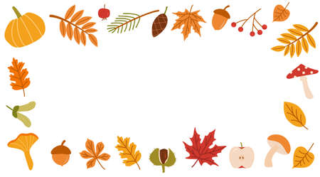 Autumn forest flora flat vector illustration. Decorative fall themed background botanical concept. Seasonal nature banner design. Various colorful tree leaves, branches, wild mushrooms and fruits.