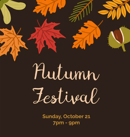 Autumn Festival invitation poster flat vector templates. Botanical banner layouts. Leaves, chestnut and branches with place for text. Fall season event dark background designs. Ilustração