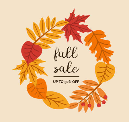 Fall sale calligraphic vector lettering. Autumn holiday isolated phrase. Dried forest leaves and berries wreath. Fall greeting card or seasonal shopping discount design template. Vector illustration.