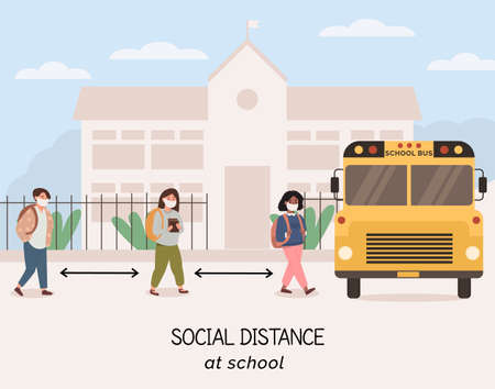 Social distancing at school after pandemia. Back to school concept after epidemic. Kids quing to pick up by bus wearing face masks and maintaining safe distance. New normal scene for children.