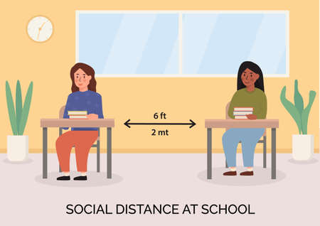 Social distancing at school concept illustration. Children sitting in the classroom with books on the desk. Schoolkids maintaing safe distance inside lecture room. Banner for new normal after pandemia