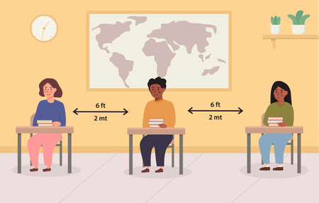 Social distancing at school concept illustration. Mix race kids sitting in the classroom. Children maintaing safe distance inside the lecture room. Back to school vector illustration.