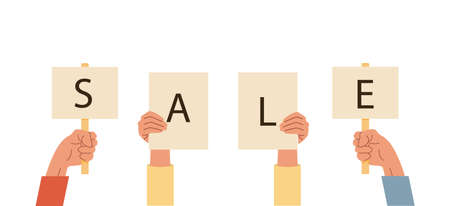 Set of hands holding cards or signs with sale word. Arms with placard with caption. Vector illustration for advertisement, black friday, seasonal promotion. Banner for online shop or e-commerce store.